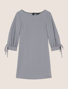 ARMANI EXCHANGE TIE-SLEEVE GINGHAM SEERSUCKER DRESS Mini dress Woman r
