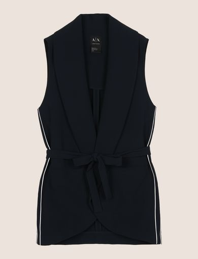 BELTED SHAWL-COLLAR VEST