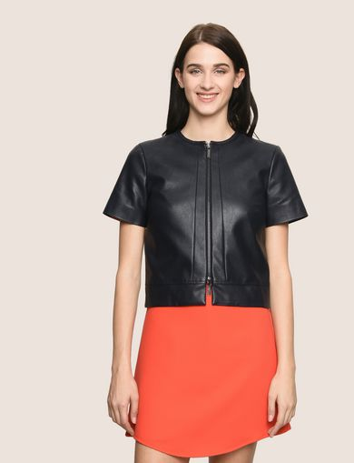 FAUX-LEATHER SHORT-SLEEVE TOPPER