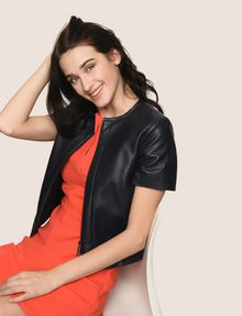ARMANI EXCHANGE FAUX-LEATHER SHORT-SLEEVE TOPPER PU [*** pickupInStoreShipping_info ***] a
