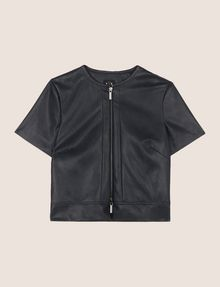 ARMANI EXCHANGE FAUX-LEATHER SHORT-SLEEVE TOPPER PU Woman r