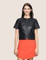 ARMANI EXCHANGE FAUX-LEATHER SHORT-SLEEVE TOPPER PU Woman f