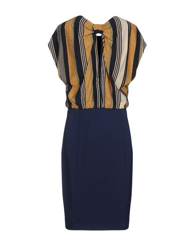 PATRIZIA PEPE Damen Knielanges Kleid Dunkelblau Größe 32 74% Viskose 18% Metallfaser 8% Elastan Polyester