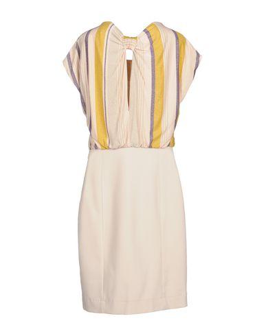 PATRIZIA PEPE Damen Knielanges Kleid Beige Größe 34 74% Viskose 18% Metallfaser 8% Elastan Polyester
