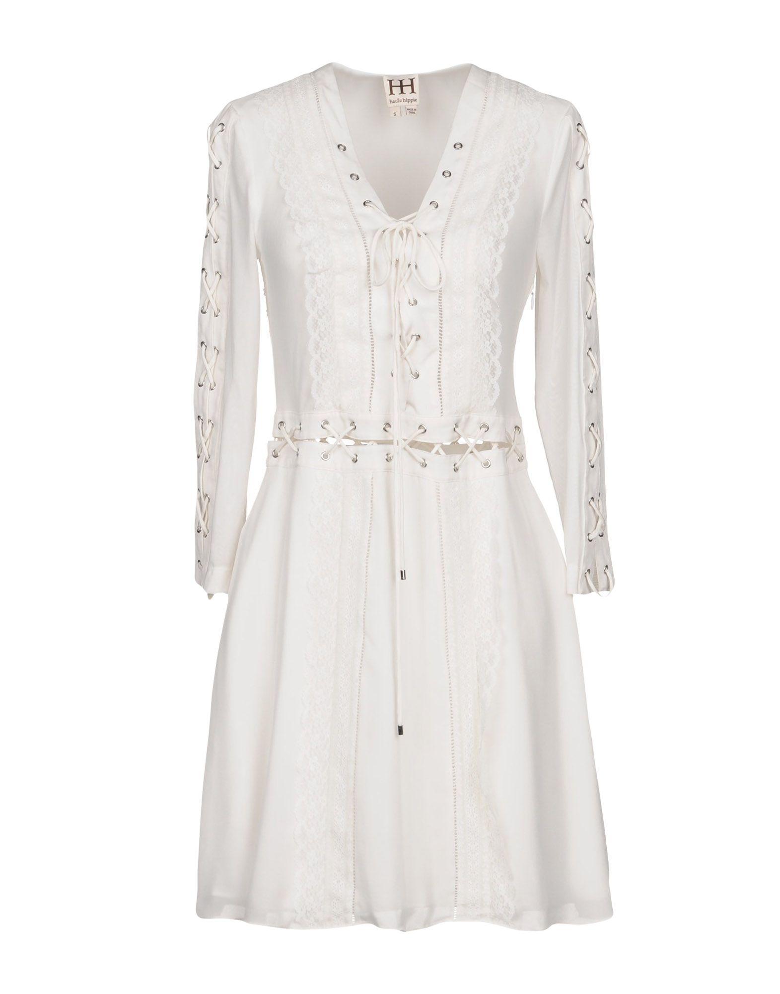 HAUTE HIPPIE Damen Kurzes Kleid Farbe Weiß Größe 6
