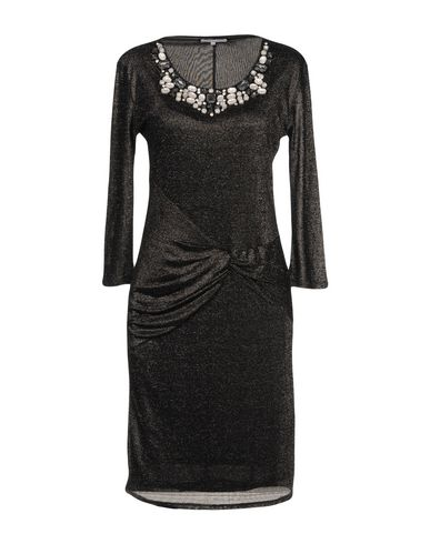 PATRIZIA PEPE Damen Knielanges Kleid Schwarz Größe 30 62% Viskose 38% Metall Polyester Kupfer