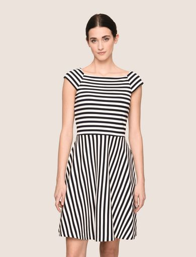 BOATNECK STRIPED FIT-AND-FLARE