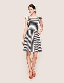 ARMANI EXCHANGE BOATNECK STRIPED FIT-AND-FLARE Mini dress Woman d