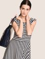 ARMANI EXCHANGE BOATNECK STRIPED FIT-AND-FLARE Mini dress Woman a