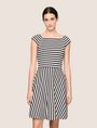 ARMANI EXCHANGE BOATNECK STRIPED FIT-AND-FLARE Mini dress Woman f