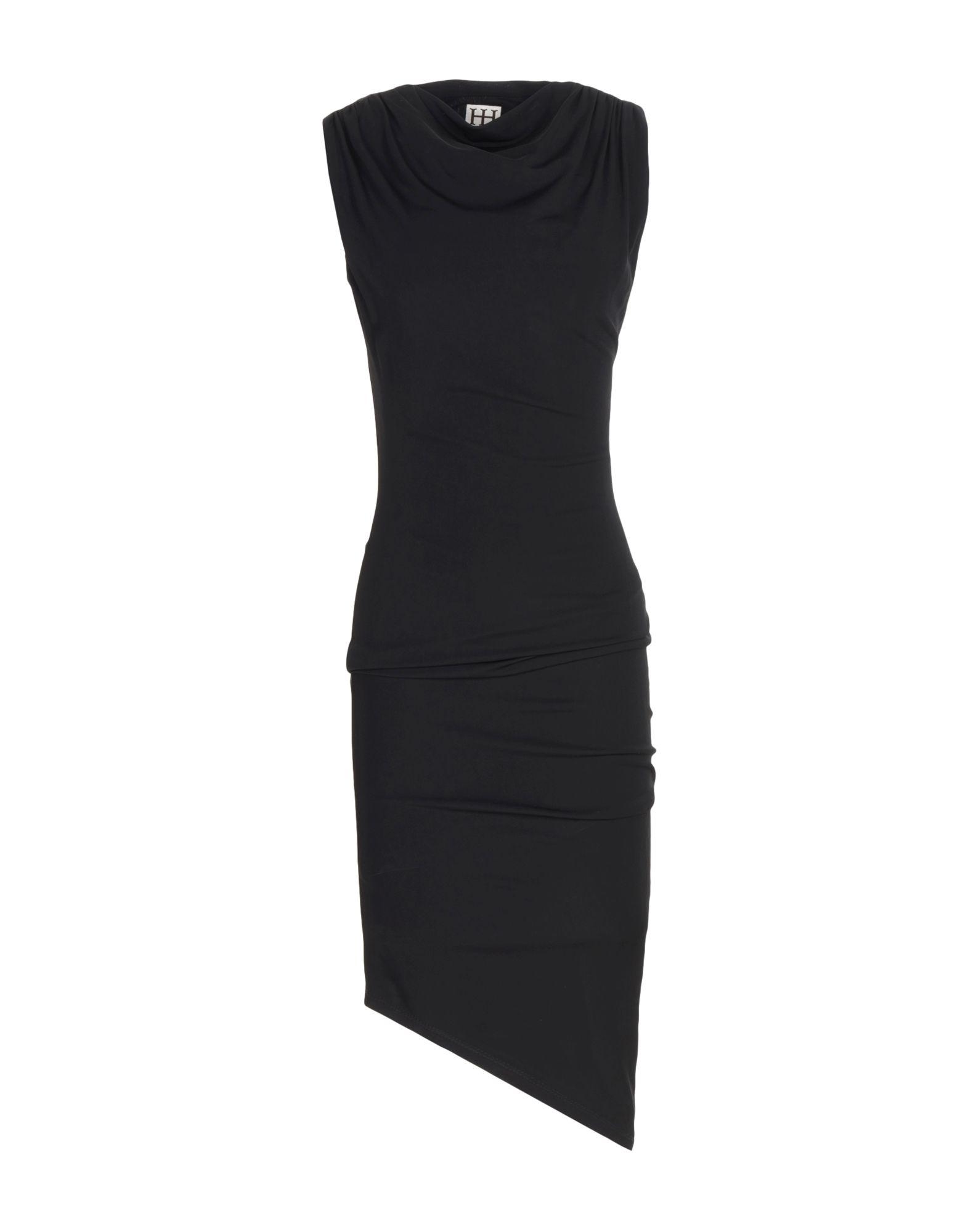 HAUTE HIPPIE Damen Knielanges Kleid Farbe Schwarz Größe 3