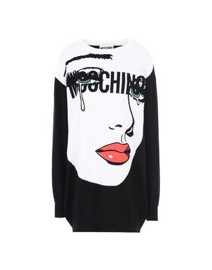 MOSCHINO Eyes Oversize Intarsia Wool Knit Dress, Black