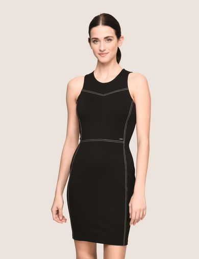 SEAMED TOPSTITCH BODYCON DRESS