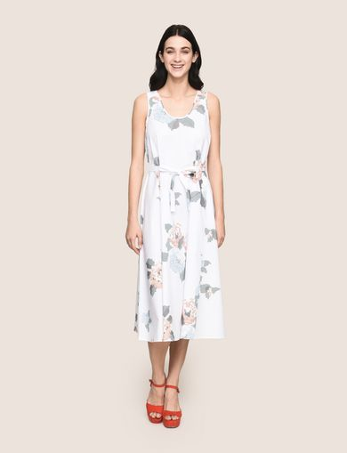 CROSS-STITCH POPLIN MIDI DRESS