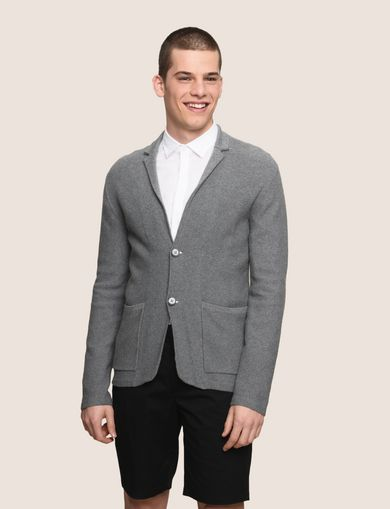 KNIT TWO-BUTTON POCKET BLAZER
