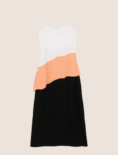 ASYMMETRICAL TIERED SLIP DRESS