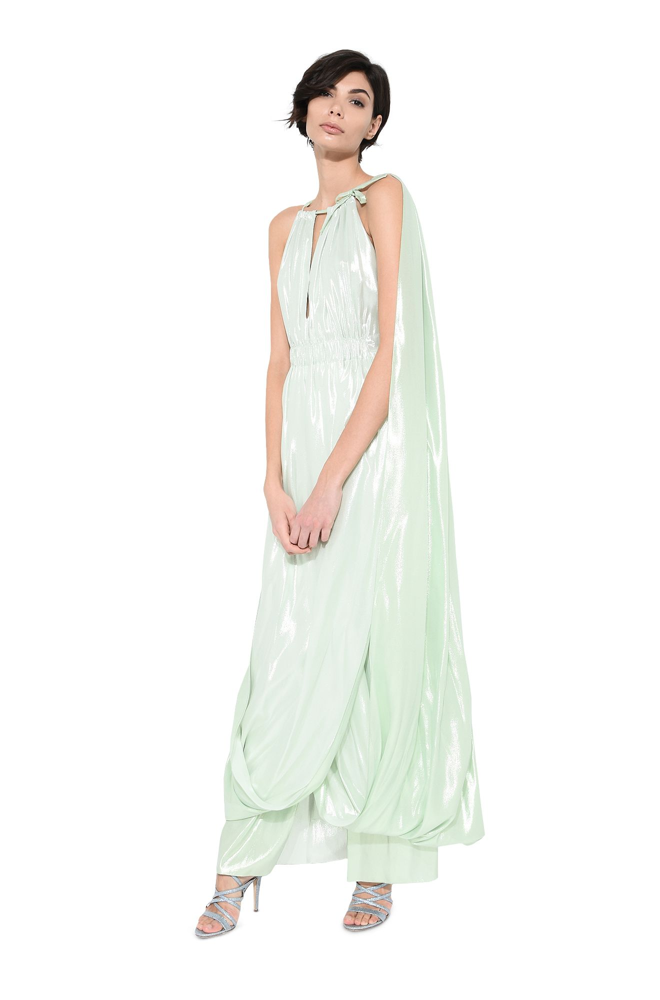 Stole dress in green lamé