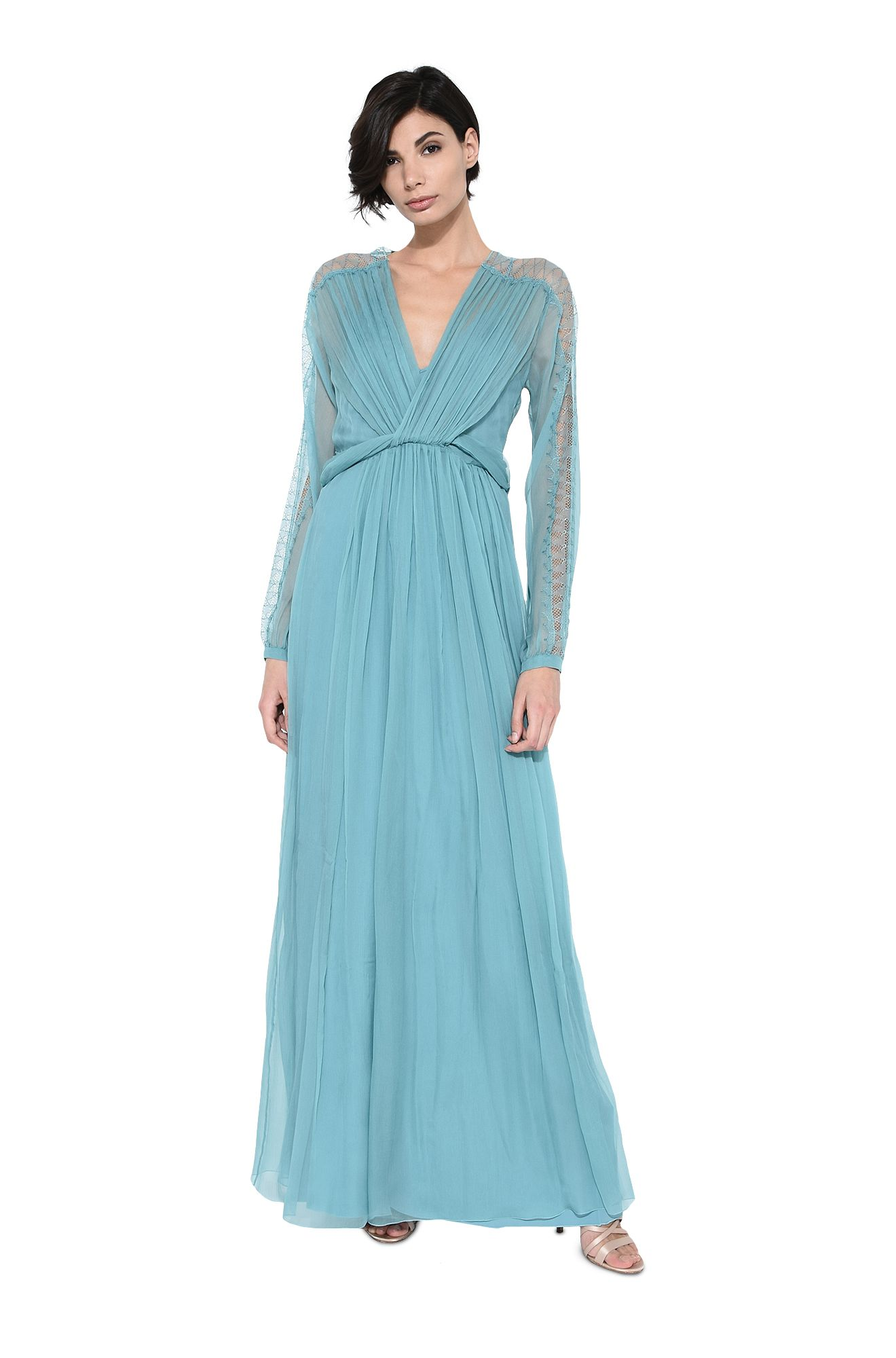 Long dress in pastel pale blue chiffon