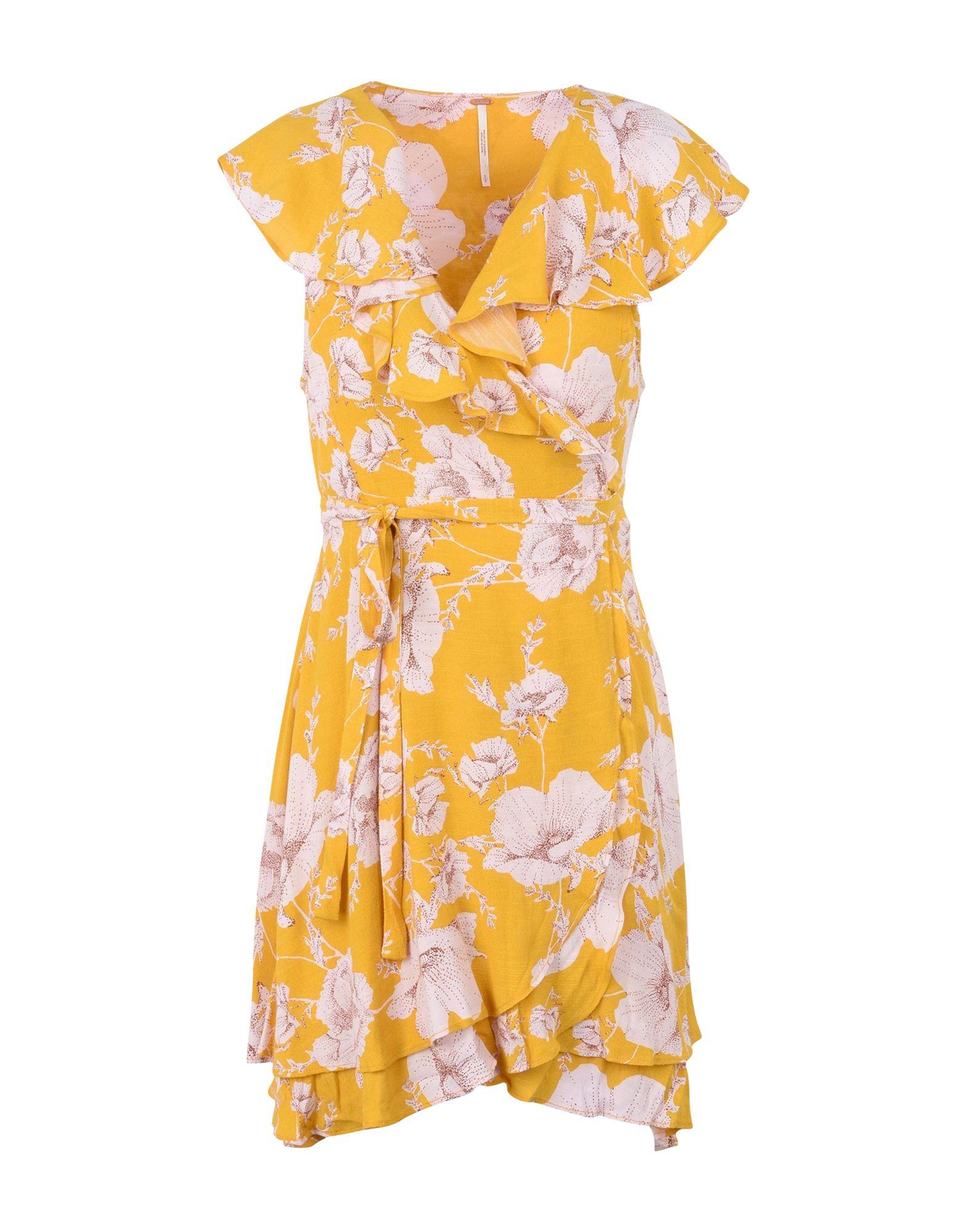 FREE PEOPLE Damen Kurzes Kleid Farbe Gelb Größe 5