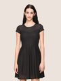 ARMANI EXCHANGE SHEER STRIPE FIT-AND-FLARE Mini dress Woman f