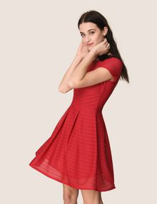ARMANI EXCHANGE SHEER STRIPE FIT-AND-FLARE Mini dress Woman a