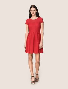ARMANI EXCHANGE SHEER STRIPE FIT-AND-FLARE Mini dress Woman d