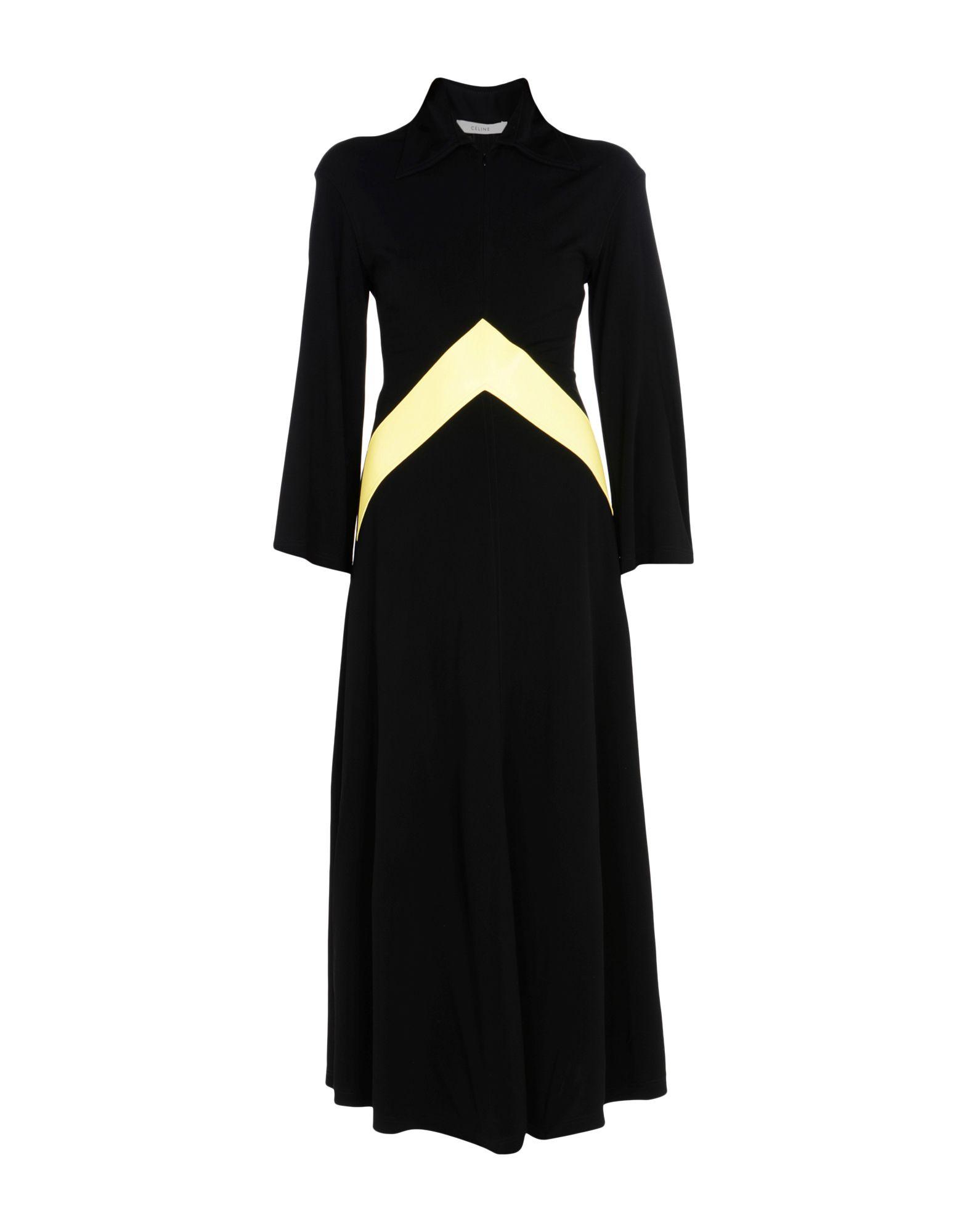 《送料無料》CELINE レディース ロングワンピース&ドレス ブラック 38 レーヨン 100% / 羊革(ラムスキン)