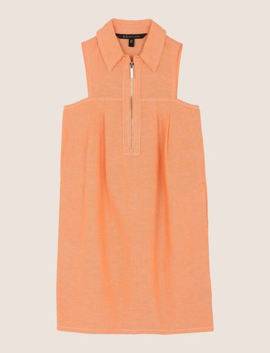 GIRLS LINEN-BLEND ZIP BALLOON DRESS