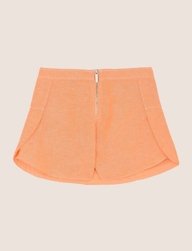 GIRLS LINEN-BLEND ZIP SKORT