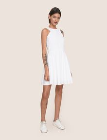 ARMANI EXCHANGE CONTRAST ZIP POPLIN FIT-AND-FLARE Mini Dress Woman d
