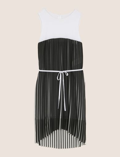 BICOLOR PLEAT TANK DRESS