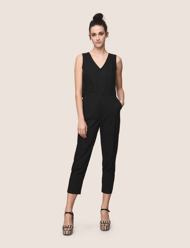 CUTOUT BACK V-NECK POPLIN JUMPSUIT