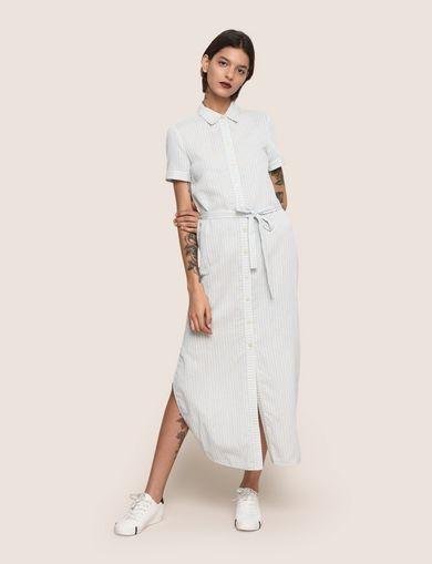 LINEN-BLEND STRIPED MAXI SHIRTDRESS
