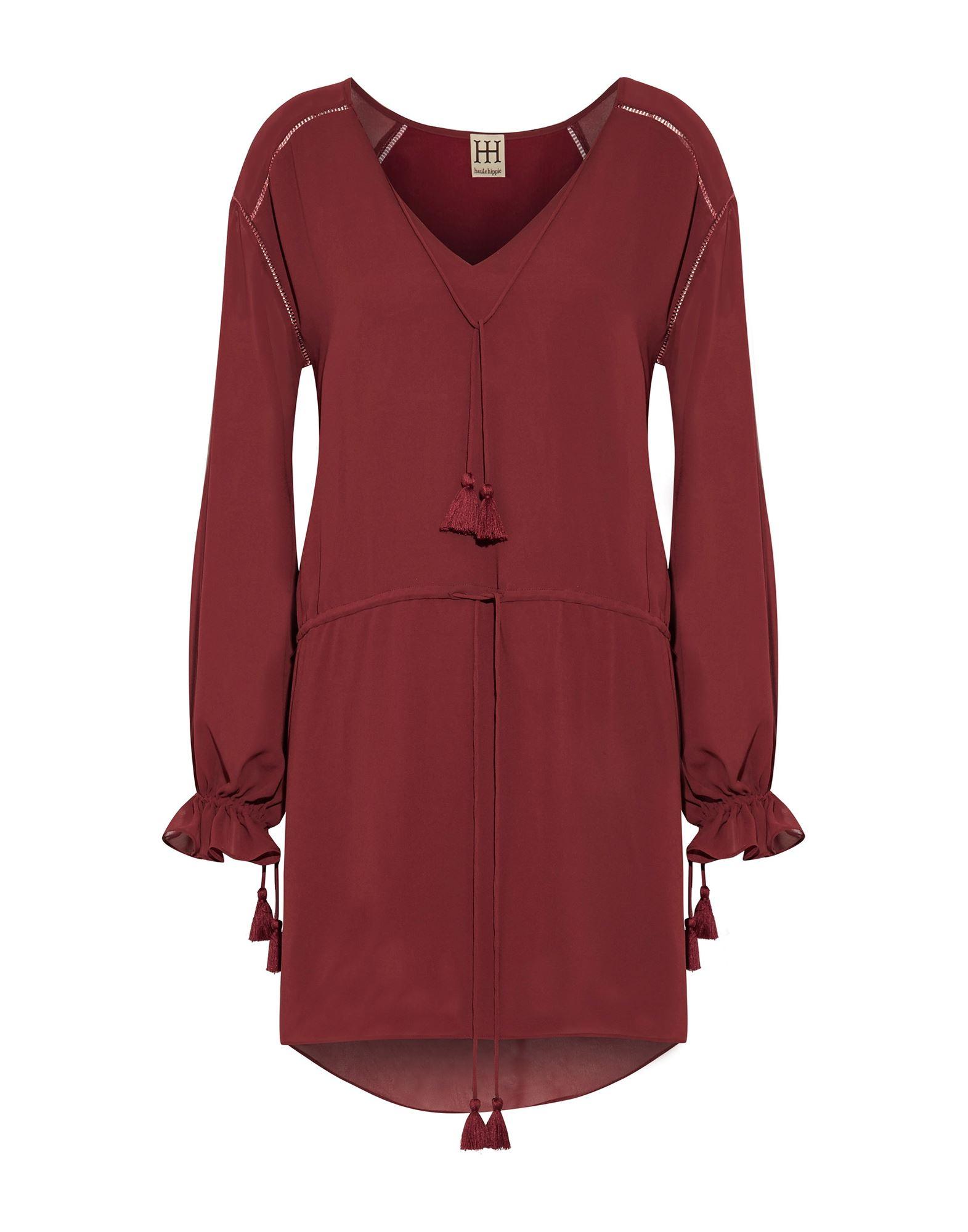 HAUTE HIPPIE Damen Kurzes Kleid Farbe Bordeaux Größe 3