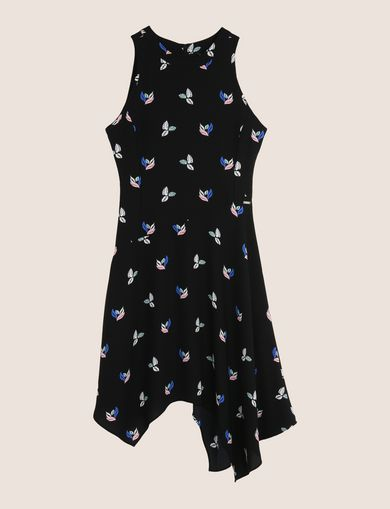 LEAF PRINT KERCHIEF-HEM SWING DRESS