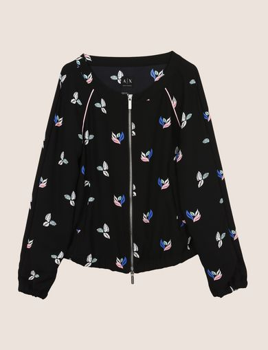 LEAF MOTIF COLLARLESS ZIP-UP JACKET
