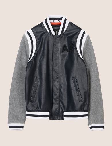 KNIT SLEEVE FAUX-LEATHER VARSITY JACKET