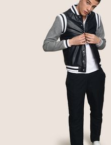ARMANI EXCHANGE KNIT SLEEVE FAUX-LEATHER VARSITY JACKET Jacket Man a
