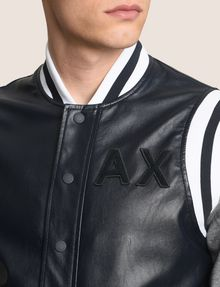 ARMANI EXCHANGE KNIT SLEEVE FAUX-LEATHER VARSITY JACKET Jacket Man b