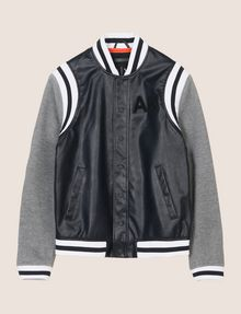 ARMANI EXCHANGE KNIT SLEEVE FAUX-LEATHER VARSITY JACKET Jacket Man r