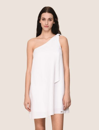 SHIMMER LINEN-BLEND ONE-SHOULDER DRESS