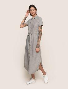ARMANI EXCHANGE LINEN-BLEND STRIPED MAXI SHIRTDRESS Maxi dress Woman d