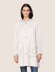 ARMANI EXCHANGE SHIMMER LINEN-BLEND LONGLINE COAT Jacket Woman f