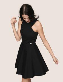 ARMANI EXCHANGE CONTRAST ZIP POPLIN FIT-AND-FLARE Mini dress Woman a