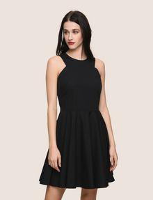 ARMANI EXCHANGE CONTRAST ZIP POPLIN FIT-AND-FLARE Mini dress Woman f