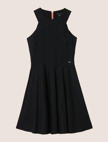 ARMANI EXCHANGE CONTRAST ZIP POPLIN FIT-AND-FLARE Mini dress Woman r