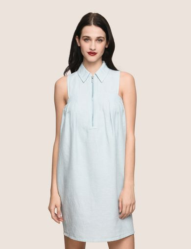 ZIP-FRONT COLLARED BUBBLE DRESS