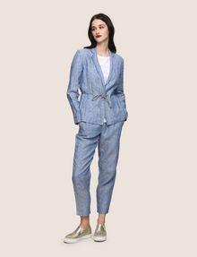 ARMANI EXCHANGE LINEN CHAMBRAY TIE-WAIST BLAZER Blazer Woman d