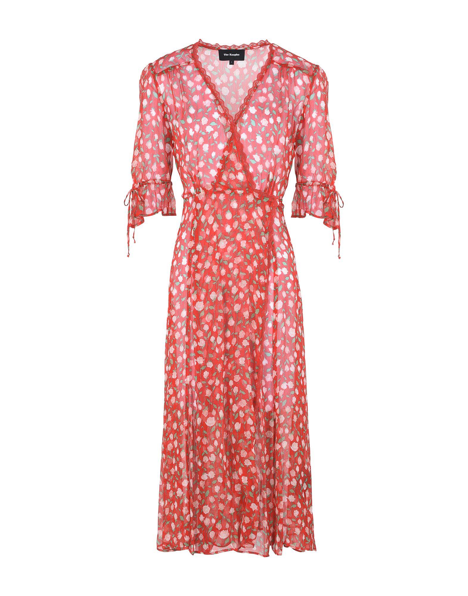 Rosa Rosa Floral-Print Midi Wrap Dress, Red
