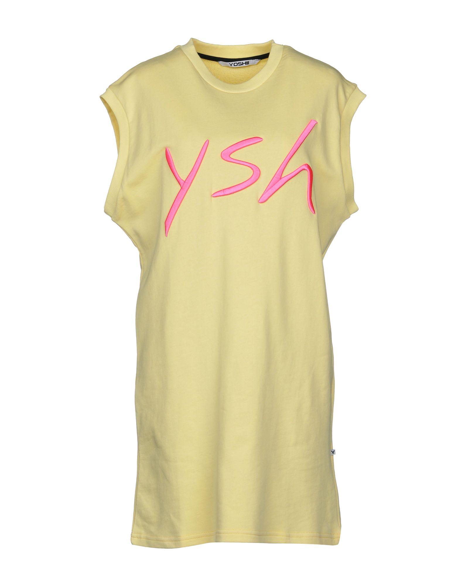 YOSHII Damen Kurzes Kleid Farbe Gelb Größe 4